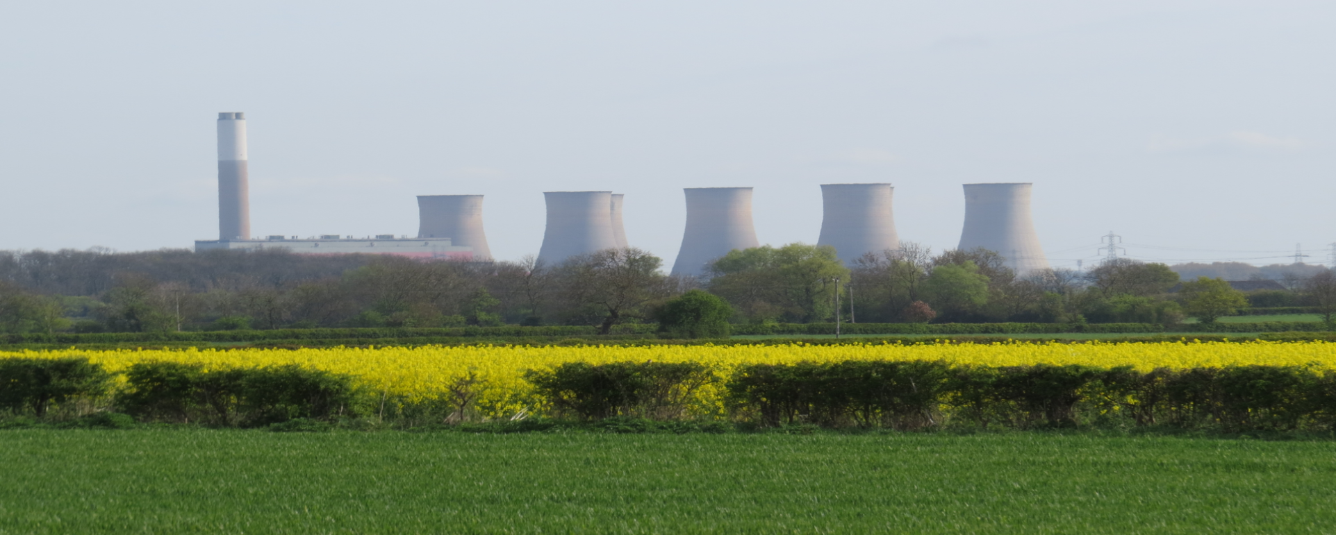 Cottam Power Station beyond field of flowering rape