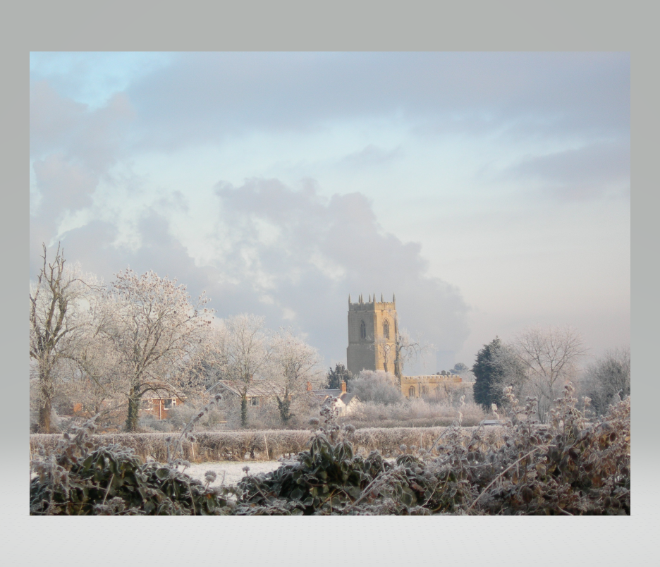 Church Tower from a distance on a frosty day